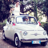 Beautiful vintage fiat 500 marriage in chianti area thumb